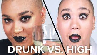 Drunk Vs. High Makeup Challenge