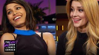 Freida Pinto and Grace Helbig Talk First Jobs