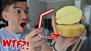 IMPOSSIBLE TRICK - HOW TO CUT A POTATO WITH A STRAW!! *TOP 5 BAR TRICK BETS YOU WILL ALWAYS WIN*