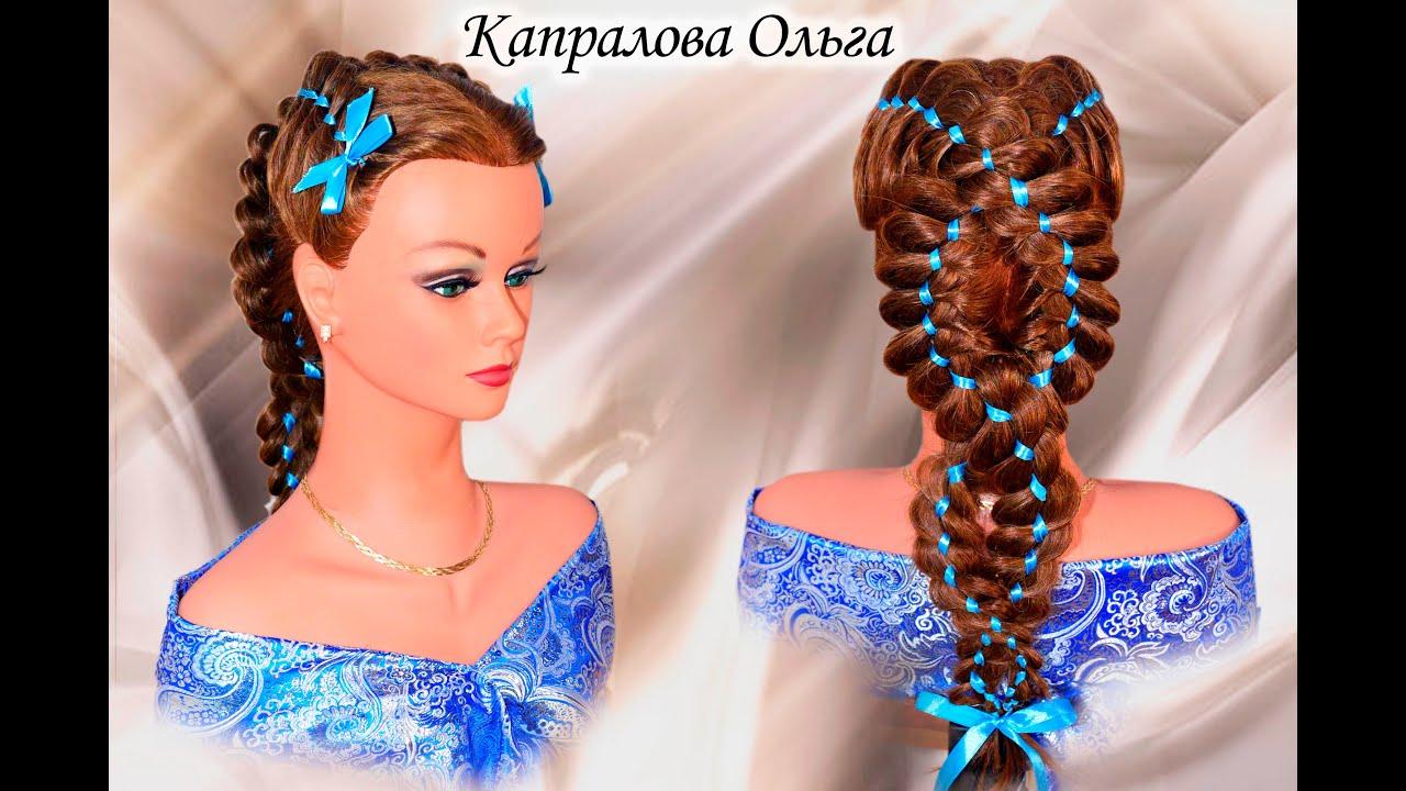 Прическа с ленточкой в волосах