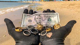I Found 9 Wedding Rings Underwater in the Ocean While Metal Detecting! $10,000+ (Returned to Owner)