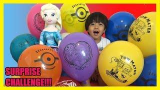 TOYS SURPRISES GIANT BALLOON DROP POP CHALLENGE Kid Video Frozen Elsa doll  Ryan ToysReview
