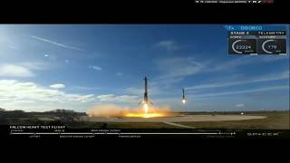 FALCON HEAVY START, ENGINE LANDING   LIVE FROM SPACEX [REPLAY]