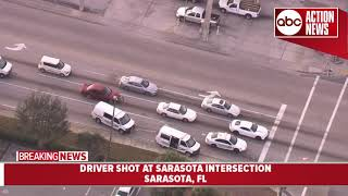 Driver shot at Sarasota intersection, deputies search for gunman