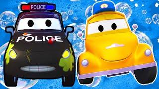 Matt das Polizeiauto - Toms Autowaschanlage in Autopolis | Lastwagen Bau Cartoons (für Kinder)