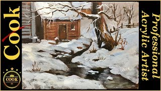 How to Paint Cabin in the Snow by one of the Old Dead Guys with Ginger Cook