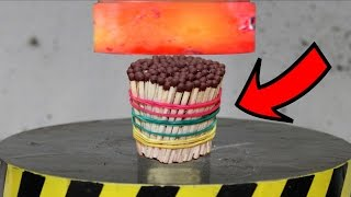 EXPERIMENT Glowing 1000 degree HYDRAULIC PRESS 100 TON vs MATCHES