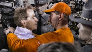 Watch chaotic scene as Nick Saban attempted to seek out Dabo Swinney