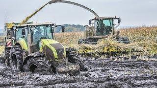 JOHN DEERE Tractors in the mud   Maishäckseln   Claas Jaguar   Fendt Traktoren