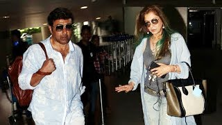 Ex-Couple Sunny Deol And Dimple Kapadia Spotted At Airport