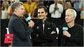 Will Ferrell asks Roger Federer ridiculous questions during interview at Australian Open | ESPN