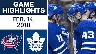 NHL Game Highlights | Blue Jackets vs. Maple Leafs - Feb. 14, 2018