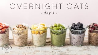 OVERNIGHT OATS 6 Ways | Easy Healthy RAINBOW Breakfasts 🐝 DAY 1