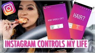 INSTAGRAM CONTROLS MY LIFE FOR A DAY|  OUTFIT, MAKEUP & WHAT I EAT ALL DAY!