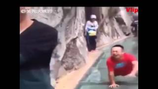Afraid Of Height Glass Bridge