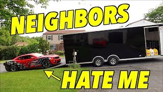 Unloading My 1200hp Straight Piped Drag Car In A Quiet Neighborhood (I