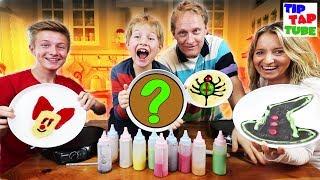 HALLOWEEN Kinder VS Eltern! Mega Creepy PANCAKE ART CHALLENGE - TipTapTube