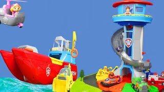 PAW PATROL PUPS: Sea Patroller & Lookout Tower mit Feuerwehrmann Pup Marshall | Paw Patrol deutsch