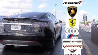 Tesla Model S P85D P85 Racing the World 0-60 MPH (Ferrari, Lamborghini, Audi, Viper, Vette, AMG, M)