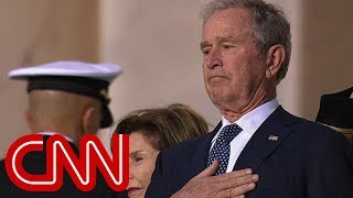 The emotional moment as Bush watches father