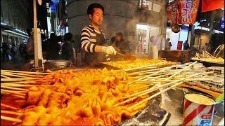 KOREAN STREET FOOD - Myeongdong Street Food Tour in Seoul South Korea | CRAZY Korean Food + SEAFOOD