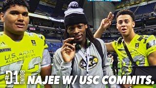 Najee Harris Interviews USC Commits Frank Martin + Michael Pittman Jr (Army All-American Bowl)