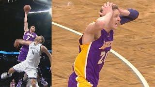 Larry Nance Jr Dunks on Brook Lopez! Mean Poster! Lakers vs Nets