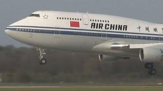 """ᴴᴰ ✈ Chinese """"Air Force One"""" B747-400 WONDERFUL TOUCHDOWN"""