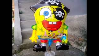 Balon Mainan Anak - Belajar Sendiri Mengisi Gas Pada Balon Karakter Spongebob