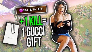 TEACHING HER HOW TO PLAY FORTNITE! *GUCCI BET*