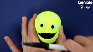 Es braucht nur einen Schnitt für die witzige Tennisballhalterung!
