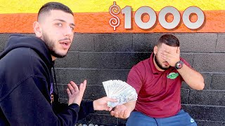 TIPPING MY BEST FRIEND $1,000 AT WORK! *Emotional Surprise*