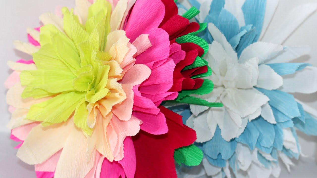Большие цветы из креповой бумаги