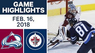 NHL Game Highlights | Avalanche vs. Jets - Feb. 16, 2018