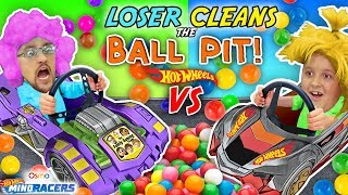 LOSER CLEANS BALL PIT BALLS: HOTWHEELS RACE! FGTEEV Father vs Son OSMO MIND RACERS iPad App Game!