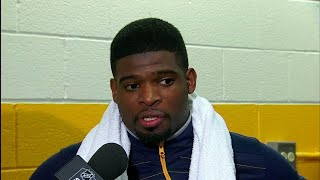 Subban on scrum with Gallagher,