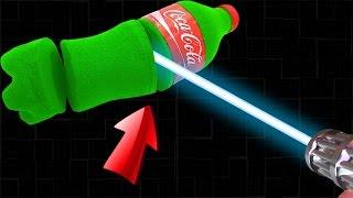 Cola Flasche aus Kinetischem Sand VS Laser