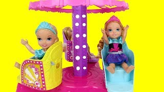 Amusement Park ! Elsa and Anna toddlers have fun - Merry-go-round - Fair -Food