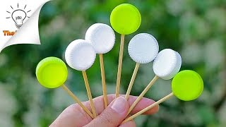 How To Make Wall Clock From Plastic Lids | Room Decor