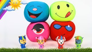 Colors for Kids with Paw Patrol Toys and Balls | Chase, Rocky, Marshall & Skye jumping on the ball