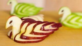 How to Make Apple Swan Garnish