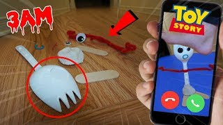 CALLING FORKY FROM TOY STORY 4 ON FACETIME AT 3 AM!! *HE GOT ATTACKED*