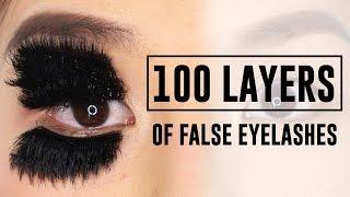100 LAYERS OF FALSE EYELASHES!! WTF - TINA TRIES IT
