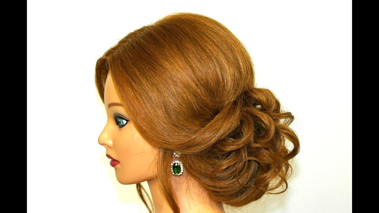 Красивые праздничные прически на волосы средней длины