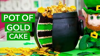 How To Make a POT OF GOLD Cake! Overflowing With Sponge Toffee Gold Nuggets & Chocolate Coins!