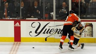 Ivan Provorov sends Brad Marchand to locker room with huge hit