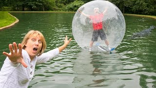 MONSTER IN POND!! (TRAPPED INSIDE GIANT BUBBLE BALL)
