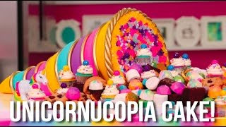 How To Make A Thanksgiving UNICORN CORNUCOPIA CAKE! A Bounty Of Cookies, Brownies And Cupcakes!