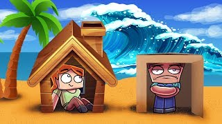 Minecraft   TSUNAMI BASE CHALLENGE - Tsunami Destroys City! (Will it Protect Us?)