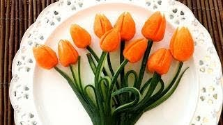 Art In Carrot Tulips | Fruit & Vegetable Carving  | Food Decoration | Party Garnishing